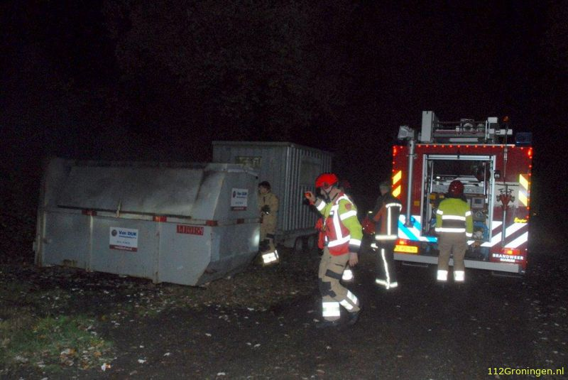 Containerbrand in Marum