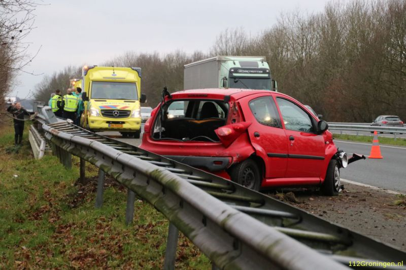 Fors ongeval op A7 leidt tot lange file richting Hoogezand.