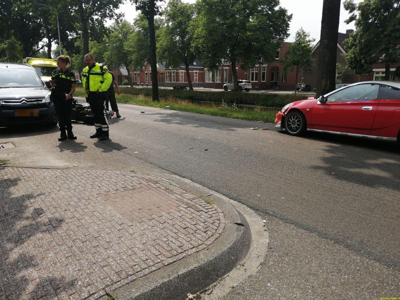 Scooterrijder raakt gewond bij botsing Stadskanaal.