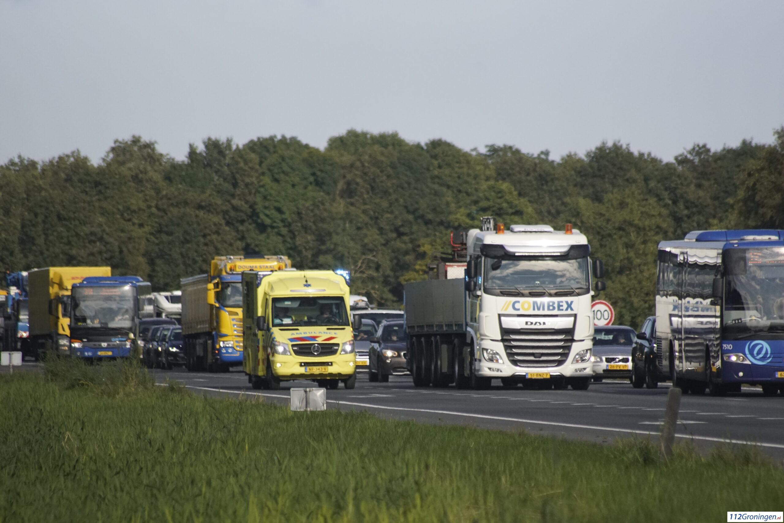Ongeval letsel op de A7 ter hoogte van Niebert.