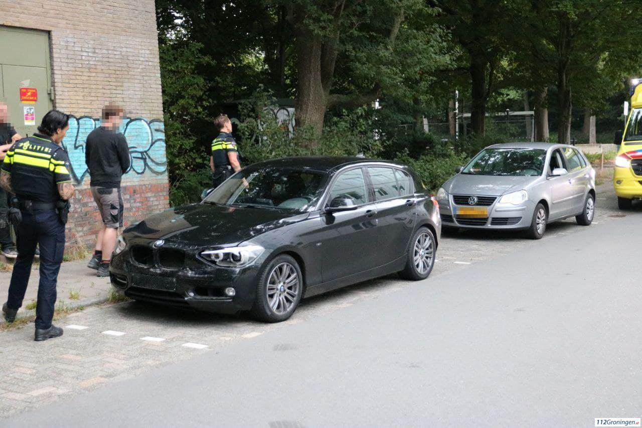 Kop-staart aanrijding in Groningen.