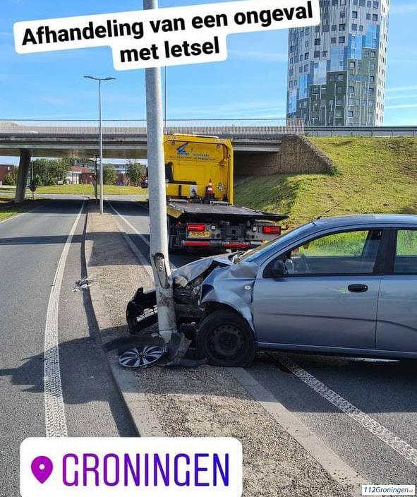 Ongeval N370 bij afslag Industrieterrein `De Hoogte`.